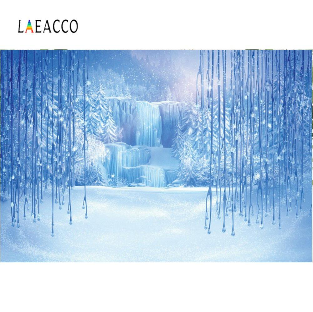 Laeacco Natural Backdrops Winter Ice Snow World Mountain Waterfall Forest Party Baby Landscape Photographic Background Photocall in Background from Consumer Electronics