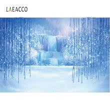 Laeacco Natural Backdrops Winter Ice Snow World Mountain Waterfall Forest Party Baby Landscape Photographic Background Photocall