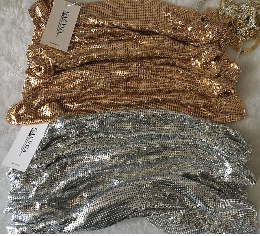 GACVGA 17 Sexy Diamond Halter Metal Party Dresses Gold Silver Summer Dress Vesitos Backless Sequins Women Dress 7