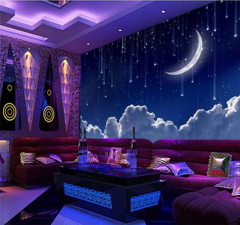 Custom Wallpaper 3d Cool Dream Starry Sky Moon White Space Theme Space Background Wall Painting High Grade Waterproof Material Fabric Textile Wallcoverings Aliexpress