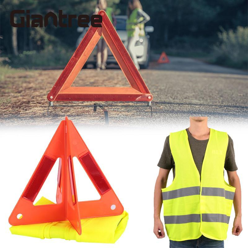 giantree 360 degree Reflective Vest and 2 pcs Car Emergency Reflective Sign Reflective Warning Board Reflective tape new reflective traffic warning sign car triangle foldable standing tripod emergency
