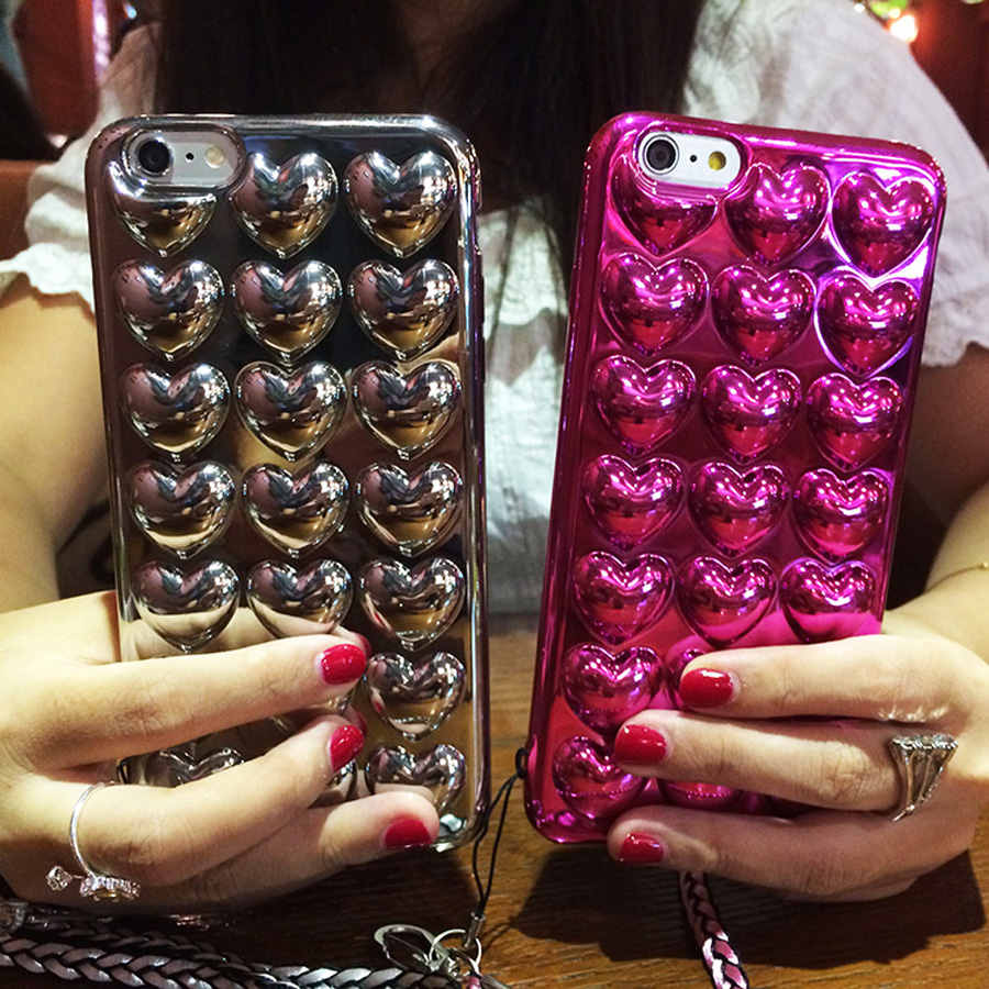 Korean 3D Peach Heart Jelly luxury plating Soft Silicone phone cae Back Cover Fundas For iphone 7 8 plus x 6 6s plus with strap in Fitted Cases from Cellphones Telecommunications