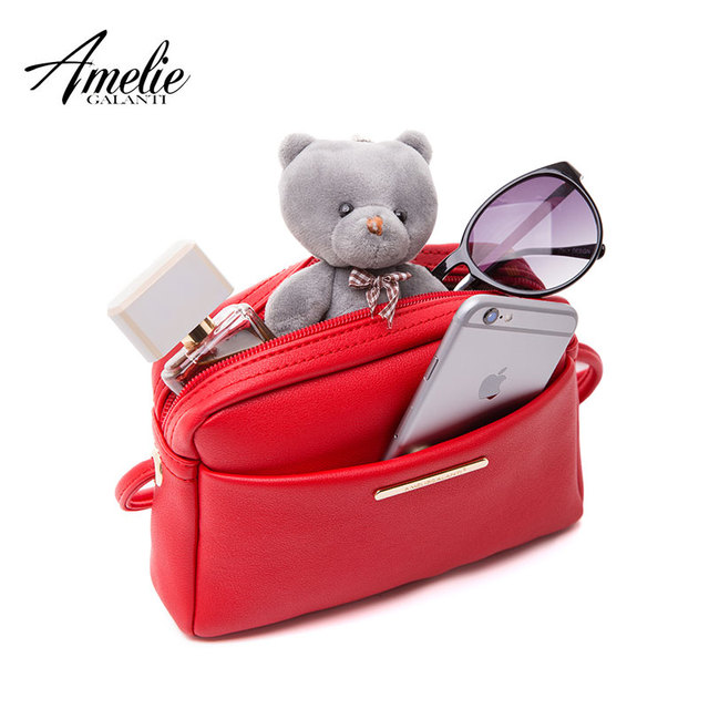 AMELIE GALANTI Small Zipper Shoulder Bag Simply Design Crossbody Bag for Women Mini Pouch with PU Leather Elegant Top-Handle Bags