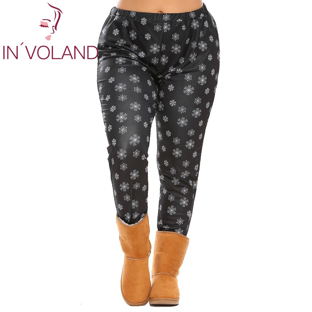 IN'VOLAND Big Size XL-5XL Women Legging Trousers Oversized Elastic High Waist Print Stretch Female Casual Pant Plus Size