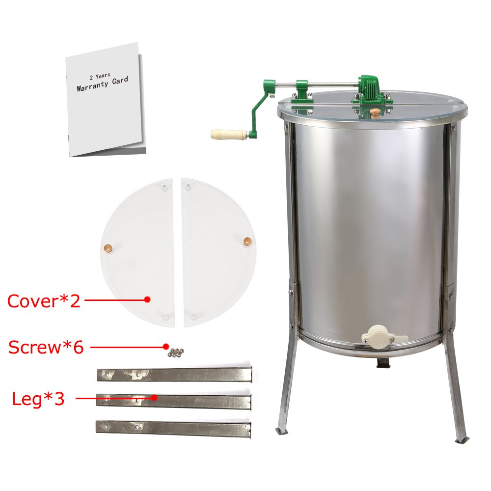 Brand New Large 4-Frame Stainless Steel  Manual Honey Extractor