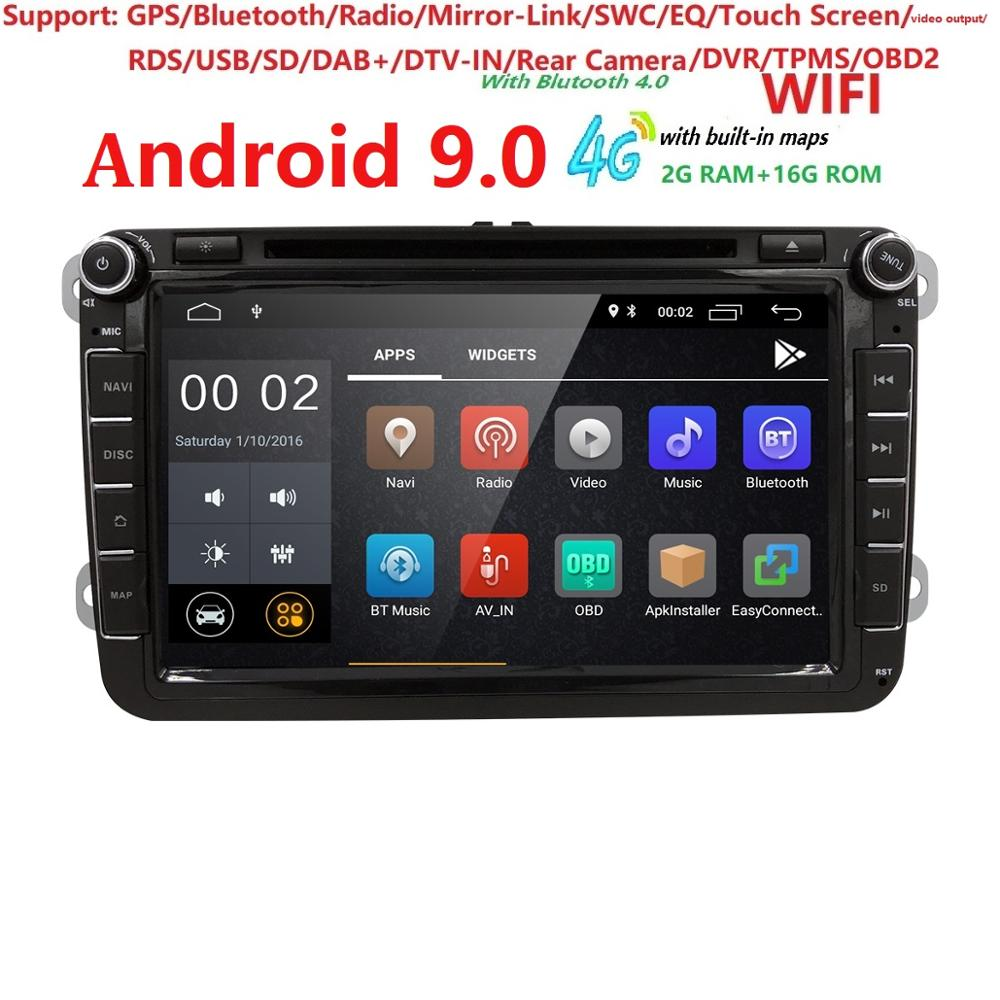 Lecteur DVD Ossuret 8''1024*600 2 Din Android 9.0 pour GOLF 6 Polo BoraJETTA B6 PASSAT Tiguan SKODA OCTAVIA 4G/WIFI DVR DAB SWC