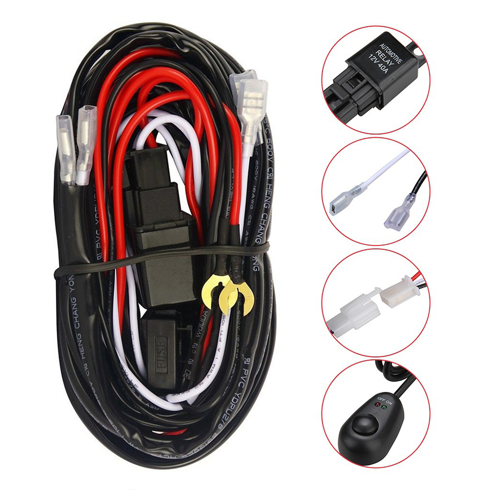 VEHEMO Connecting 2 LED Universal Switch Fuse Relay Fog Light LED Work Driving Light Wiring Harness Kit Headlight Wiring