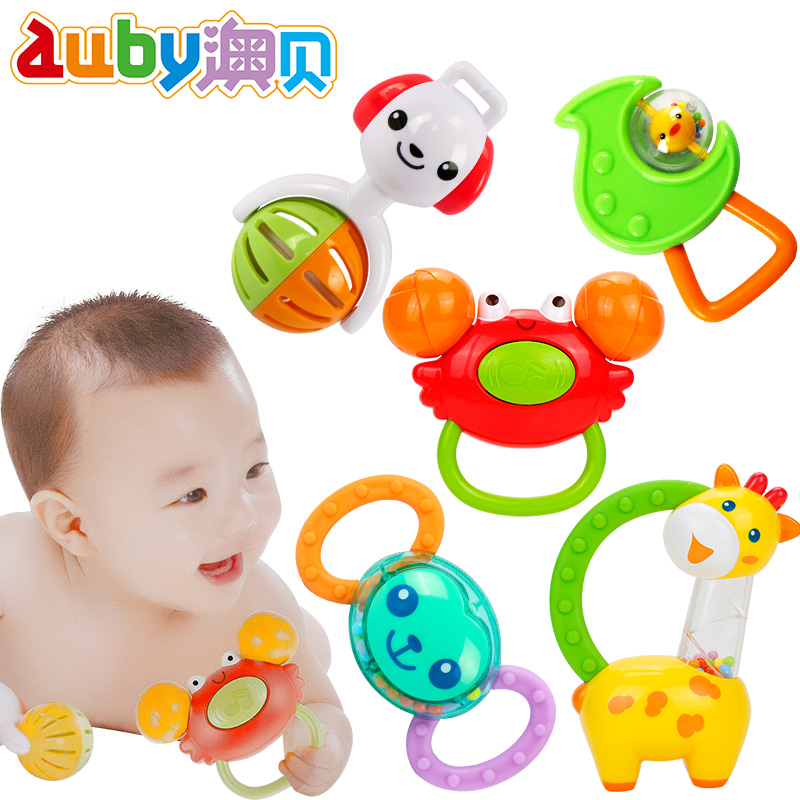 Auby Plastic Toy Baby Gift Colorful Rattle Cute Monkey Dog Leave Giraffe Crab 5pc/set Baby Rattles & Mobiles Toys & Hobbies