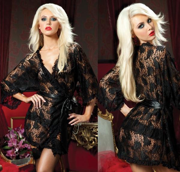 Sexy black lace see through bathrobe ladies nightwear with sleeves ...