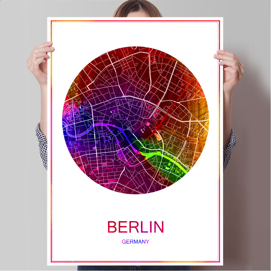 Berlin germany famous world city map print poster print on paper or canvas wall sticker bar pub cafe living room home decoration in wall stickers from home