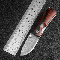 Mini Damascus Pocket Knife Wood Handle Folding Knife Outdoor Portable Camping Tactical Survival Knives Utility Key