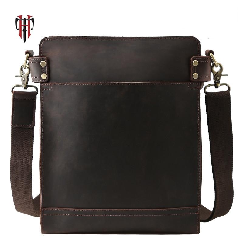 купить TIANHOO Genuine leather men bags & vintage style luxury cow crazy horse leather messenger shoulder bags for work по цене 3844.58 рублей