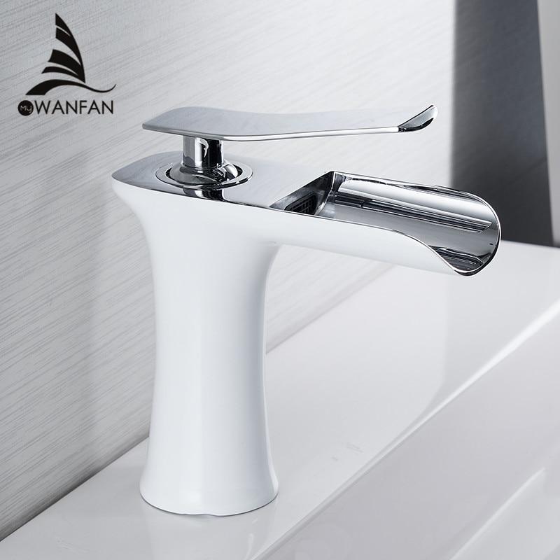 Basin Faucets Waterfall Bathroom Faucet Single handle Basin Mixer Tap Bath Antique Faucet Brass Sink Water