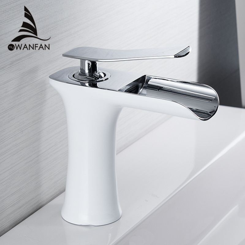 Basin Faucets Waterfall Bathroom Faucet Single handle Basin Mixer Tap Bath Antique Faucet Brass Sink Water Crane Silver 6009