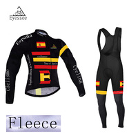 2018 winter thermal long sleeve cycling jersey Tour de Spain fleece bicycle clothing Eyessee Team Edition fleece bicycle clothes