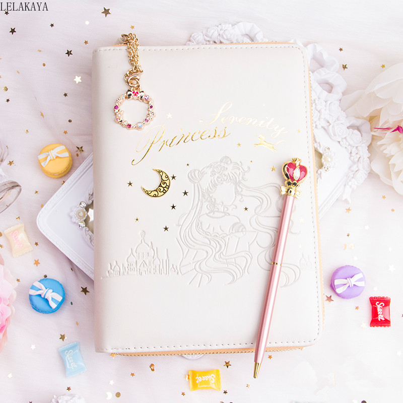Sailor Moon Sakura Action Figure Printed Pu Leather Book Case Cover Lovely Moon Pen Dairy Book Set Girl's Gift Notebook Handbook