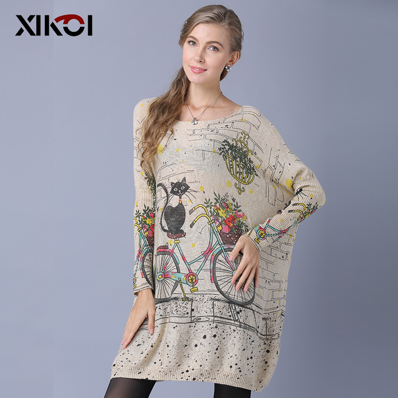 XIKOI Woman Oversize Sweater Winter Long  Cat Bicycle Print Casual Coat Batwing Sleeve Bicycle Cat  Print Pullovers Clothing