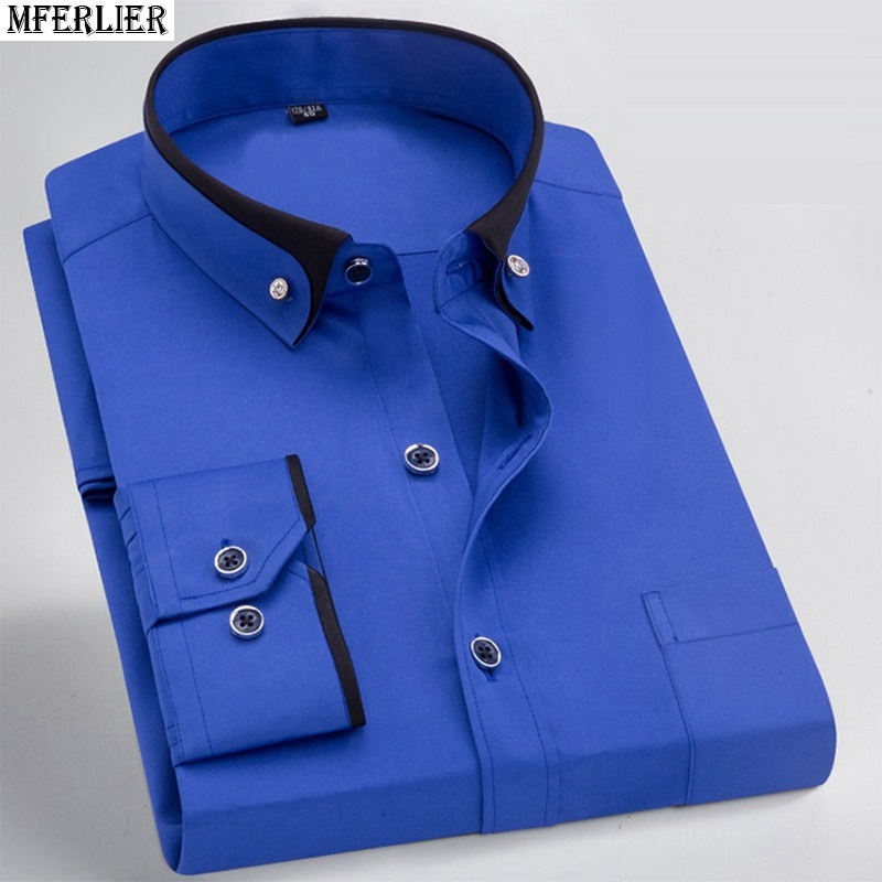 Image 5 - men dress shirt formal long sleeve large size big 7XL 8XL patchwork wedding shirts Pink navy blue 9XL 10XL 12XL blouse purple-in Casual Shirts from Men's Clothing