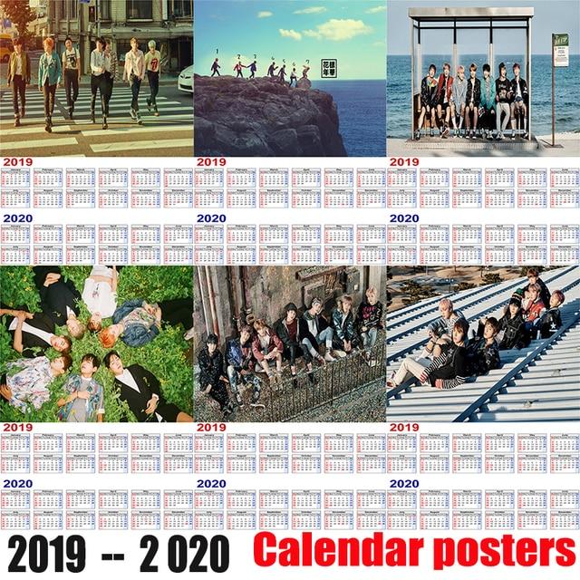 Bts Calendar 2020 BTS 2019 2020 calendar poster Home Furnishing decorative white