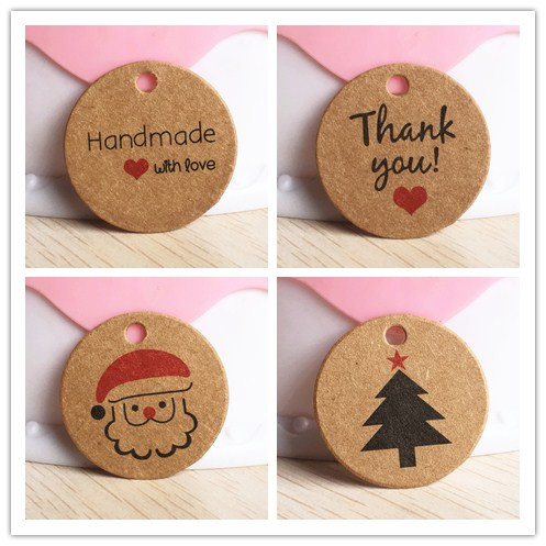 100pcs 1.18inch Kraft Products/gift Price Tags DIY Wedding/christmas/Birthday Gift Box Packing Tag Candy/cake Favors Brand Tags