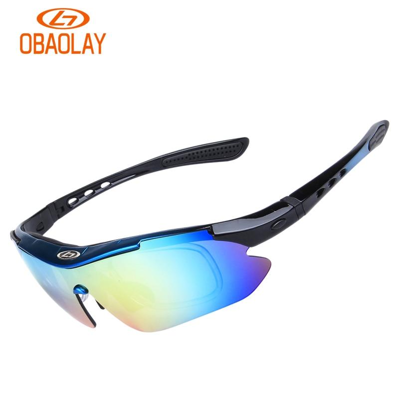 Prix pour OBAOLAY chaude lunettes de sport cyclisme lunettes set 5 verres route vélo VTT lunettes de vélo coupe-vent Polarisées D1093YJ