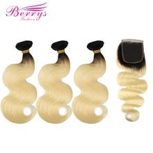 Berrys אופנה Ombre ברזילאי גוף גל 1b/613 צבע 3 חבילות עם סגירת Prepluncked 100% שיער טבעי אריגת רמי שיער ערב