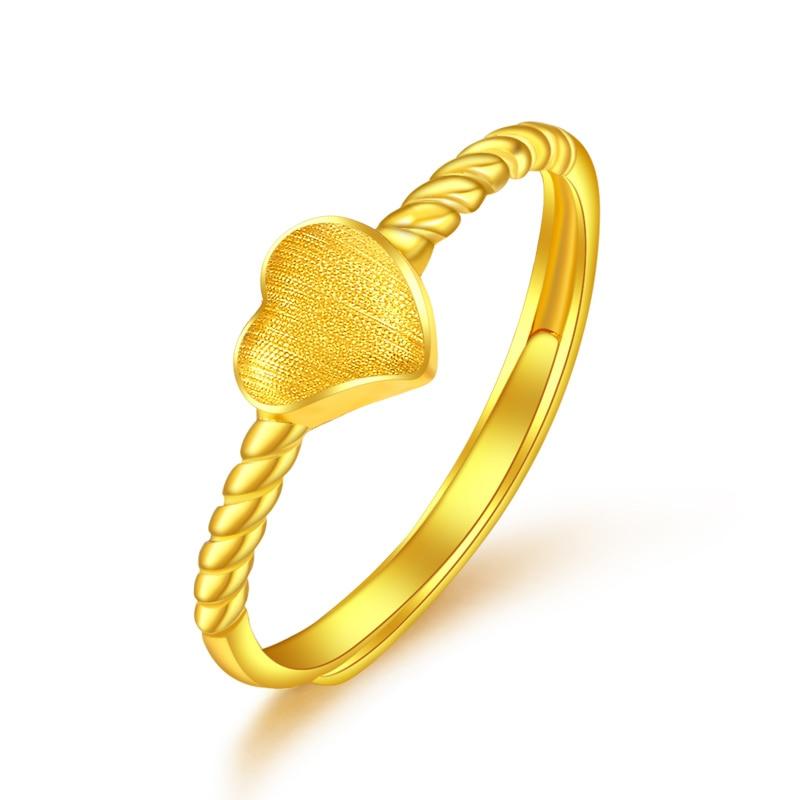 Bague en or jaune pur 24 K 999 bague en or pour femmes avec corde de cœur 2.03g