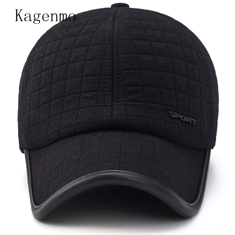 7eda71a2f26 Kagenmo fashion winter hat man winter keep warm cotton cap windproof ear  protection male vintage sombrero short brim visor-in Baseball Caps from  Apparel ...
