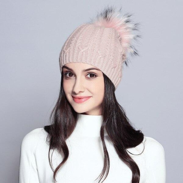 f364715b034 ... Women Spring Wool Real Fur Pom Pom Hats Female Natural Raccoon Fur  Beanie Hat Winter Cashmere ...