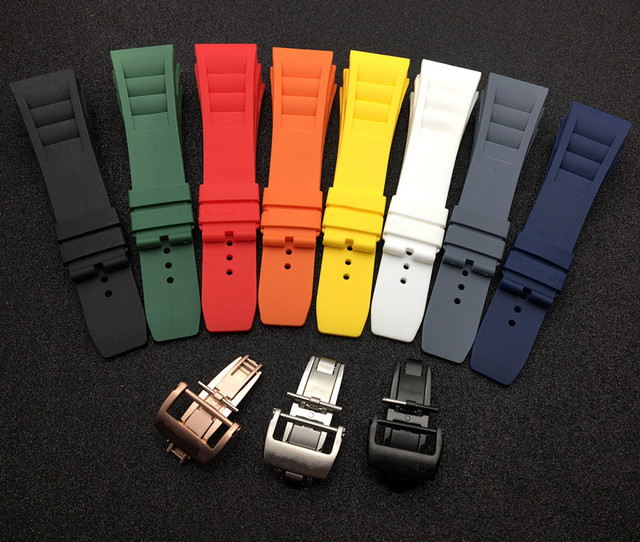 Top quality Imported nature soft silicone rubber Black watchband watch band for mille strap for RM strap  011 for Richard strap