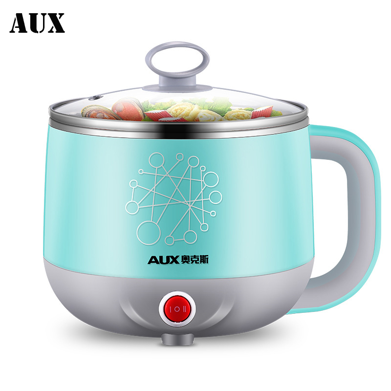 AUX Mini Student electric hot pot multicookings travel cooker lunch box noodle cooker 600W Multi Cookers Egg Boilers multicooker cukyi 110v 450w multifunctional electric boiler student dormitory pot noodle electric kettle hot pot 1 2l