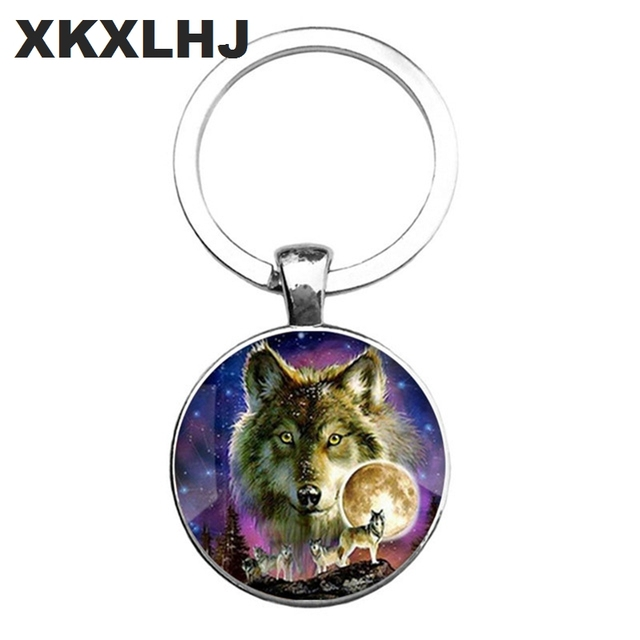 HOT! Trendy Nordic Wiccan Wolf Keychain Kovelty Animal Cool Wolf Key chain Holder Gifts For Men Keyring Jewelry 5