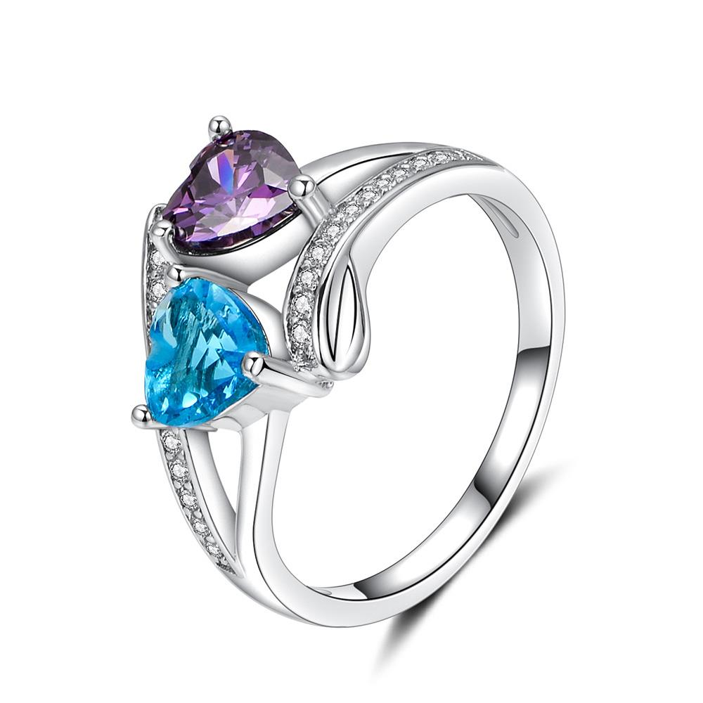 2 шт. сердце любовь отдельные темно-синий Кольца Ювелирные изделия Доставка кубического циркония Циркон женщин Обручение Promise Ring