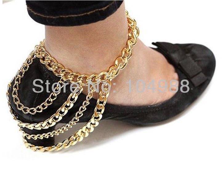 a2912aded شحن مجاني 2014 نمط A26 النساء أحب الذهب أو الفضة الكاحل الكوبي ربط سلسلة  سوار خلخال سلسلة مجوهرات
