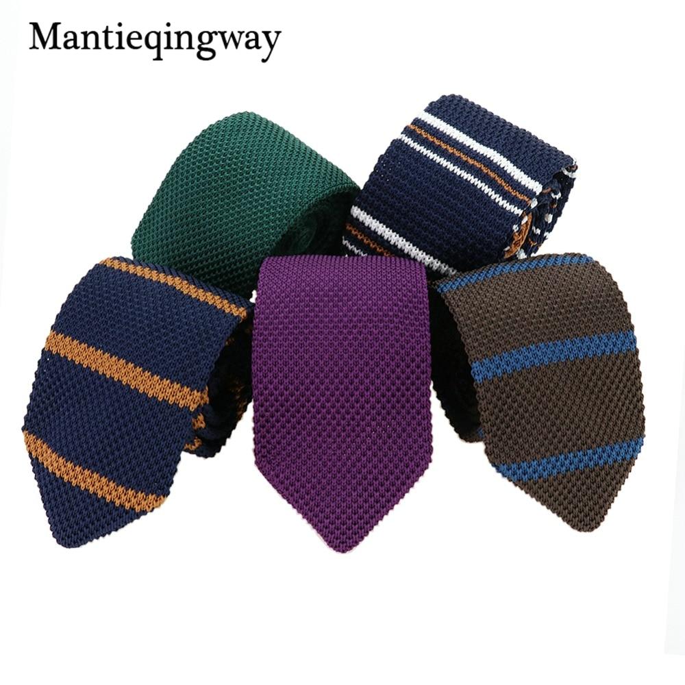 Mantieqingway herenpakken gebreide stropdas plain stropdas voor bruiloft smoking gestreepte geweven skinny gravatas cravats accessoires