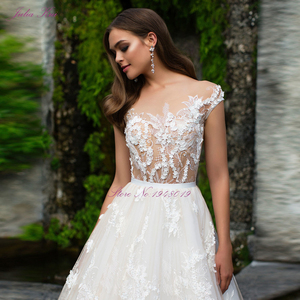 Image 5 - Julia Kui Luxurious  Tulle Scoop Wedding Dress Floral Print Sleeveless Illusion Back A Line 2 In 1 Bride Dress Customize