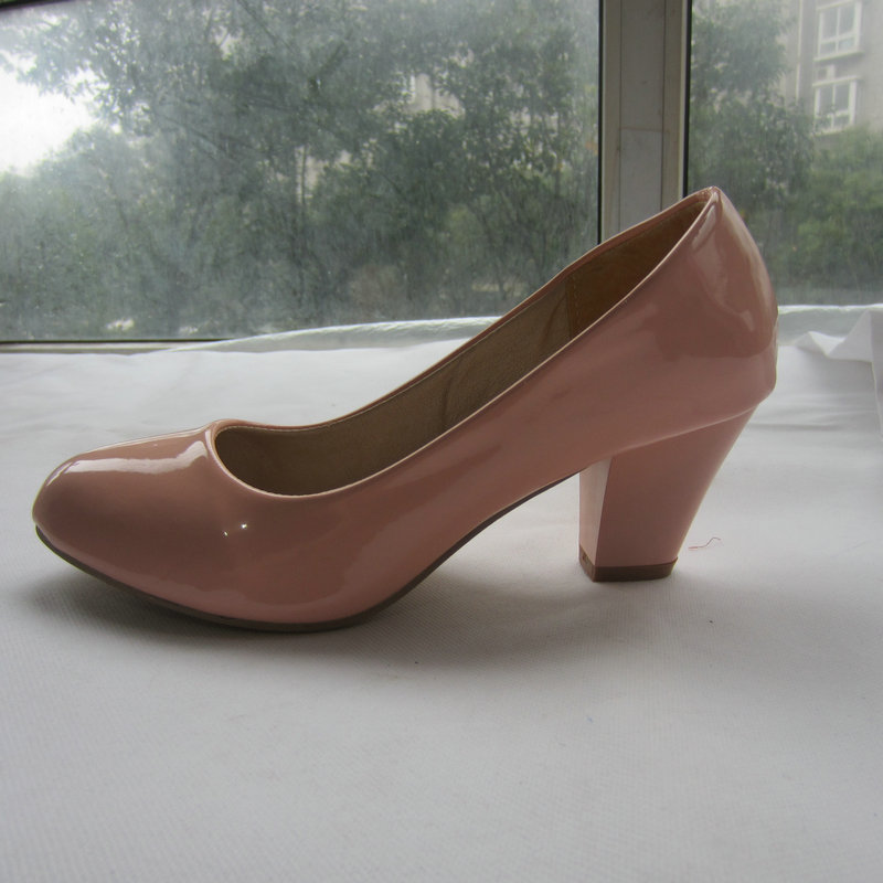 QEL 228 Big size US 10.5 fashion sweet square heel shoes women ladies pumps basic med heel shoes