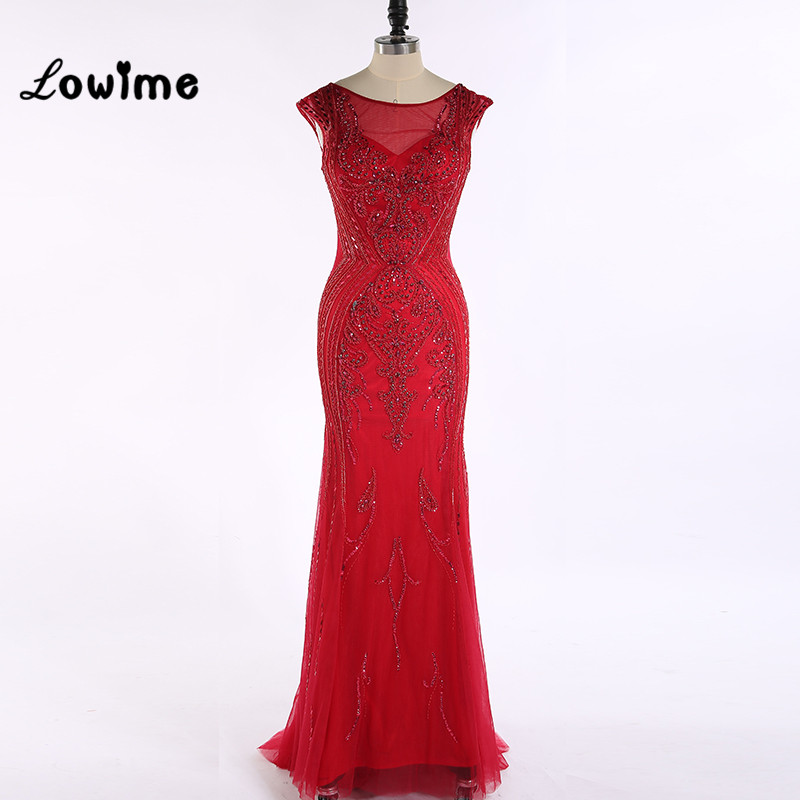 Hot Sexy Red Luxury Evening font b Dress b font Mermaid with Cap Sleeve Backless Crystal
