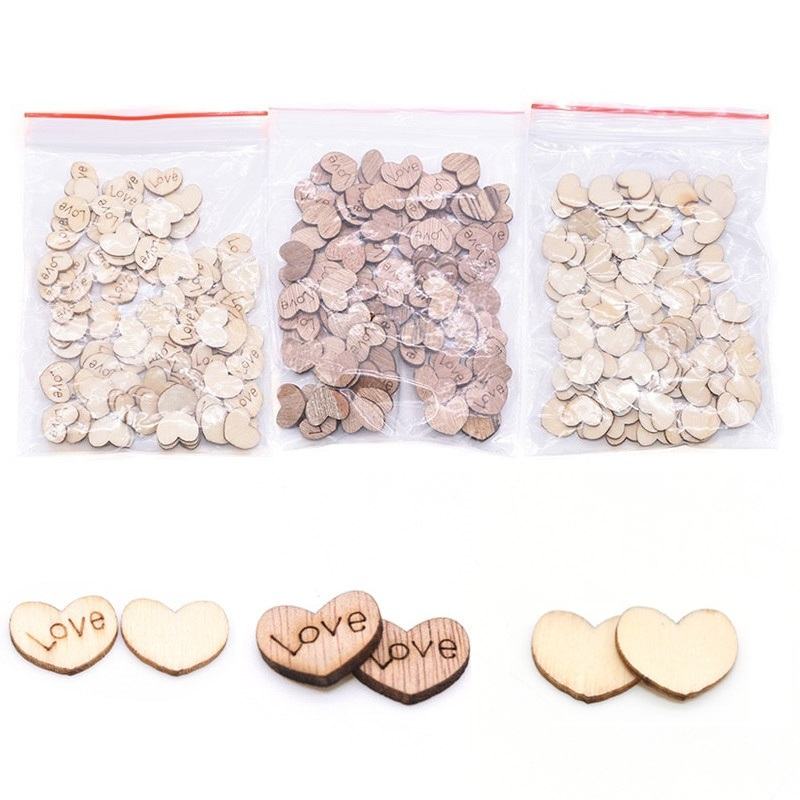 100Pcs Wooden Love Hearts Embellishments Handmade Wood Slices Confetti DIY Craft Wedding Gift Favors Table Scatter Party Decor