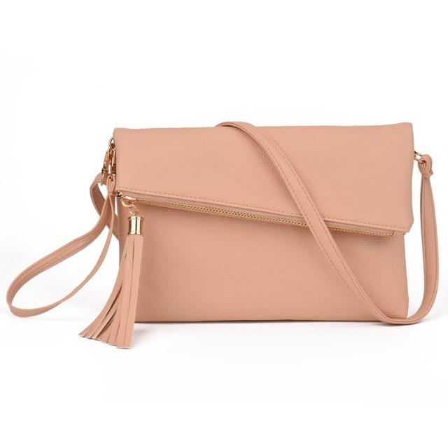 JIARUO 2017 New Tassel Design Women PU Leather Crossbody Messenger bag Small Sling Shoulder Bags Fold Closure Handbag Purses