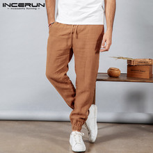 INCERUN Men's Pants Solid Color New 2019 Summer Nine Points Pants Drawstring Loose Beam Foot Casual Streetwear Pantalones Hombre