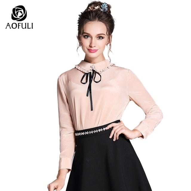 AOFULI S-5XL Ruffle Peter Pan Collar Women Pink Blouse 2018 Sexy Back Button  Plus Size Lady Ribbon Bow Shirts Spring Tops 3856 656358bcfc12