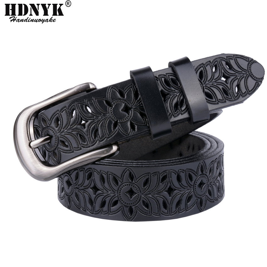 Hot Women Brand Belter, New Design Hollow Out Kvinder Bælter Fashion Casual Belt Cow Ægte Leather Belt For Women Without Drilling
