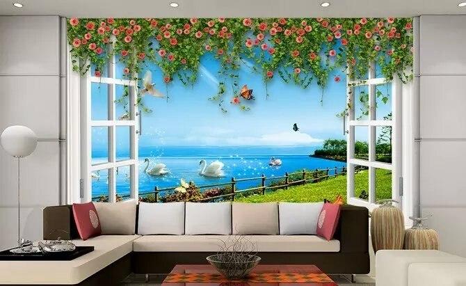 2017 Foto Wallpaper Papel Parede Mediterania Mewah Mawar Dan Kayu Rumah Di Pantai Desain Kertas Dinding Mural Dari Perbaikan