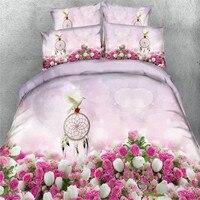 De mariage rose blanc rose colombe 3d literie lits reine roi tailles literie girsl couette couverture enfants lit couverture 3/4 pc 500tc