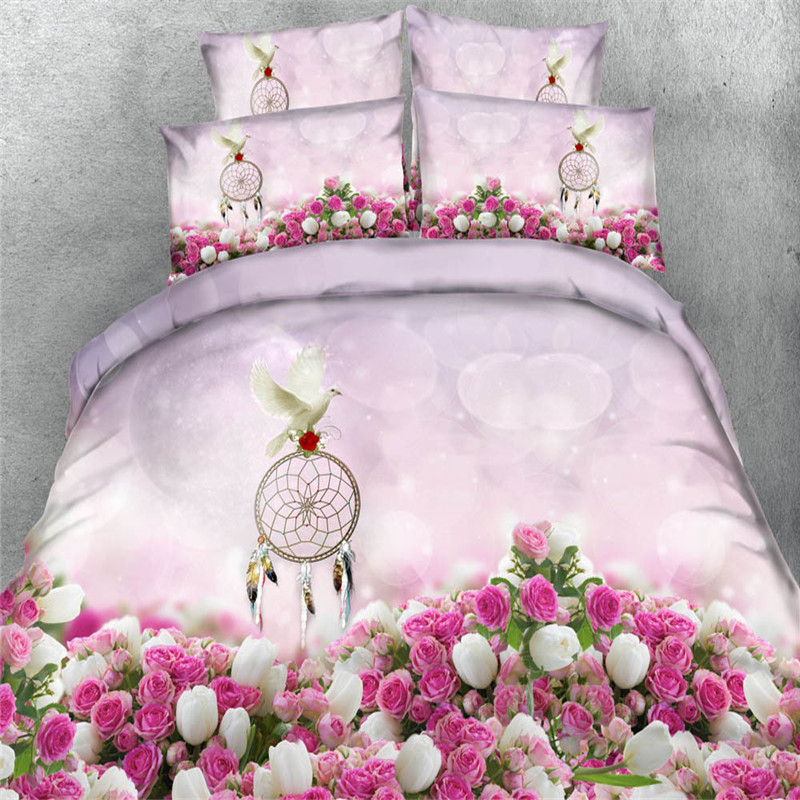 wedding pink white rose dove 3d bedding sets twin queen king sizes bedclothes girsl comforter cover kids bed cover 3/4pc 500tc