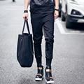 2017 Мужчины тонкий случайные брюки черный лоскутное небольшой все-матч личность шаровары мужчины луч ноги брюки [28-33]
