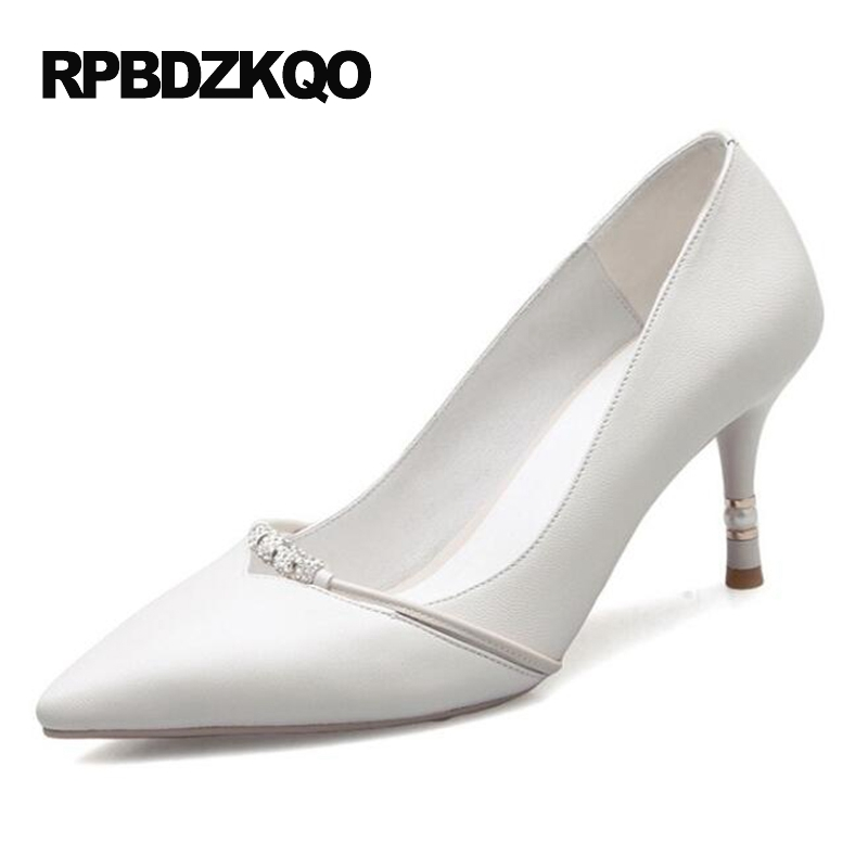 Crystal High Heels Size 4 34 White Elegant 2017 Medium Rhinestone Small Office Shoes Women Work Scarpin Pumps Pointed Toe Summer miolla 3