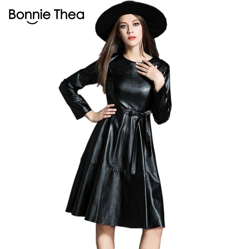 Винтер женщины черный мех Кожаные модельные туфли женские элегантные короткие осенние платья Вечеринка работы дамы платье 2018 одежда Vestidos