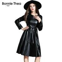 vinter women black fur Leather Dress Female Elegant short autumn Dresses evening party work ladies dress 2018 clothes Vestidos